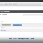 Back End - Manage Singer Types