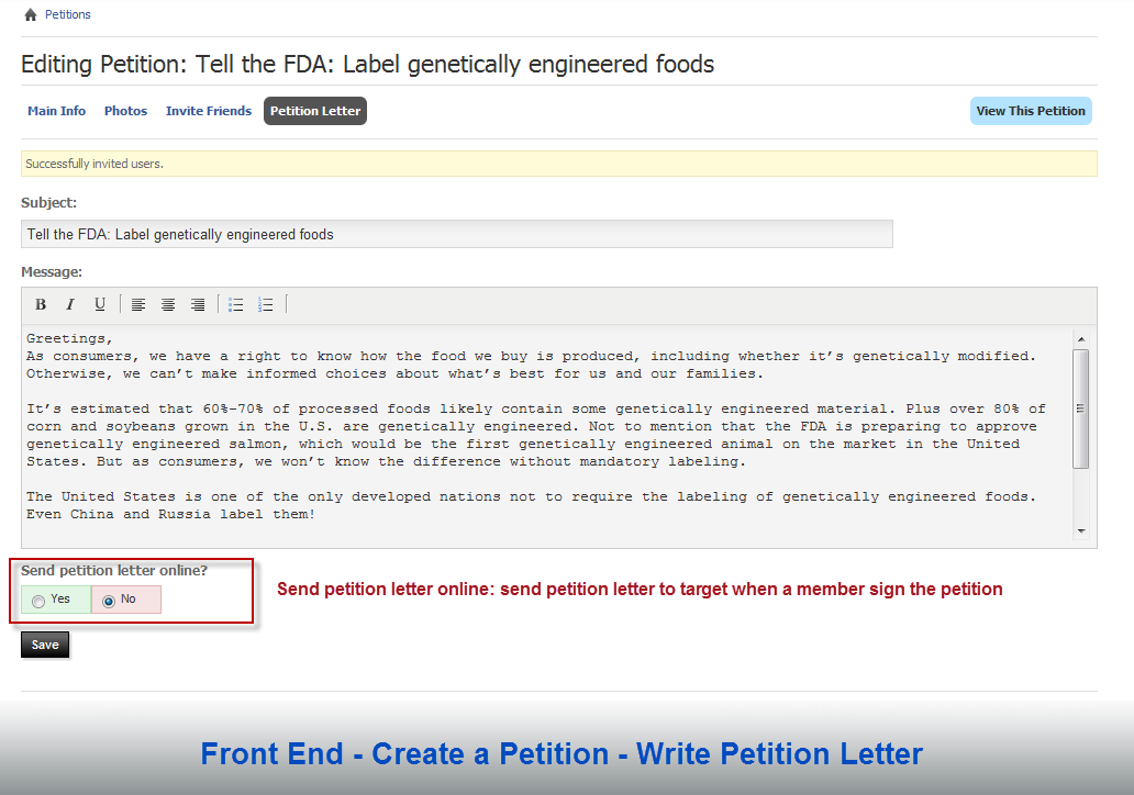 Front End – Create a Petition – Write Petition Letter
