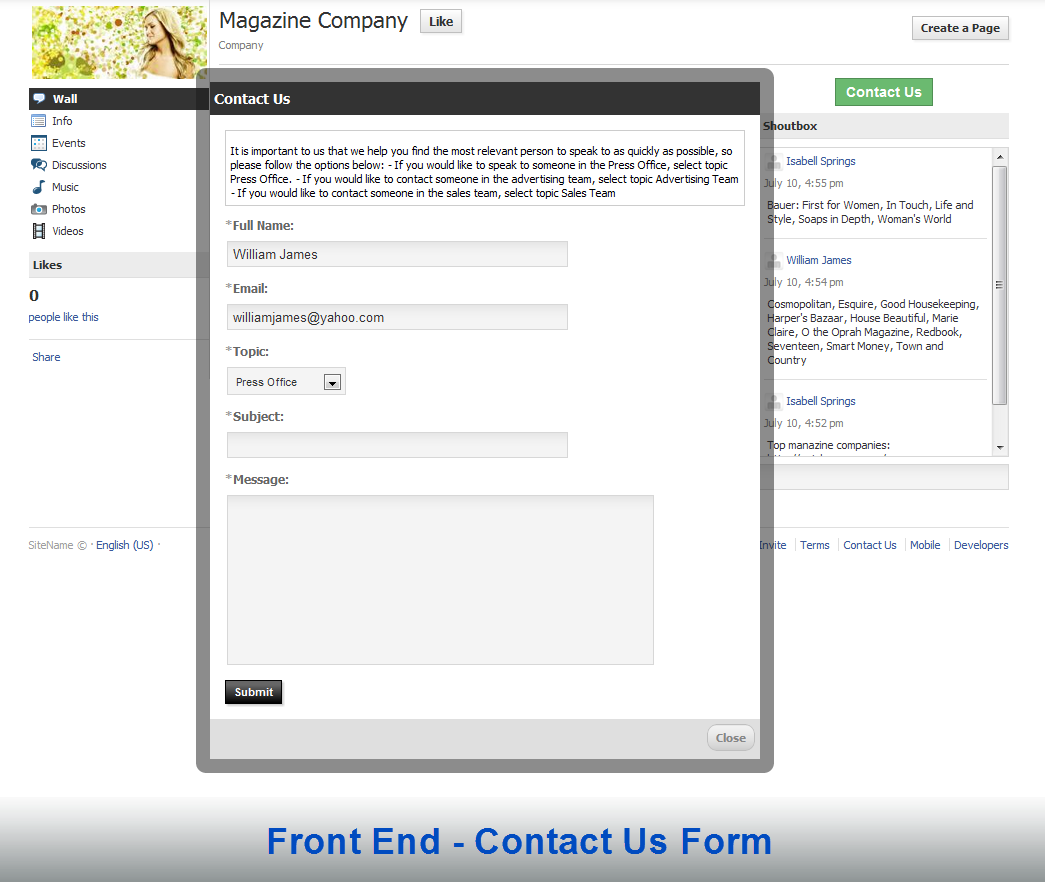Contact Us: Page Contact Form, Module, Plugin Custom Design For PhpFox