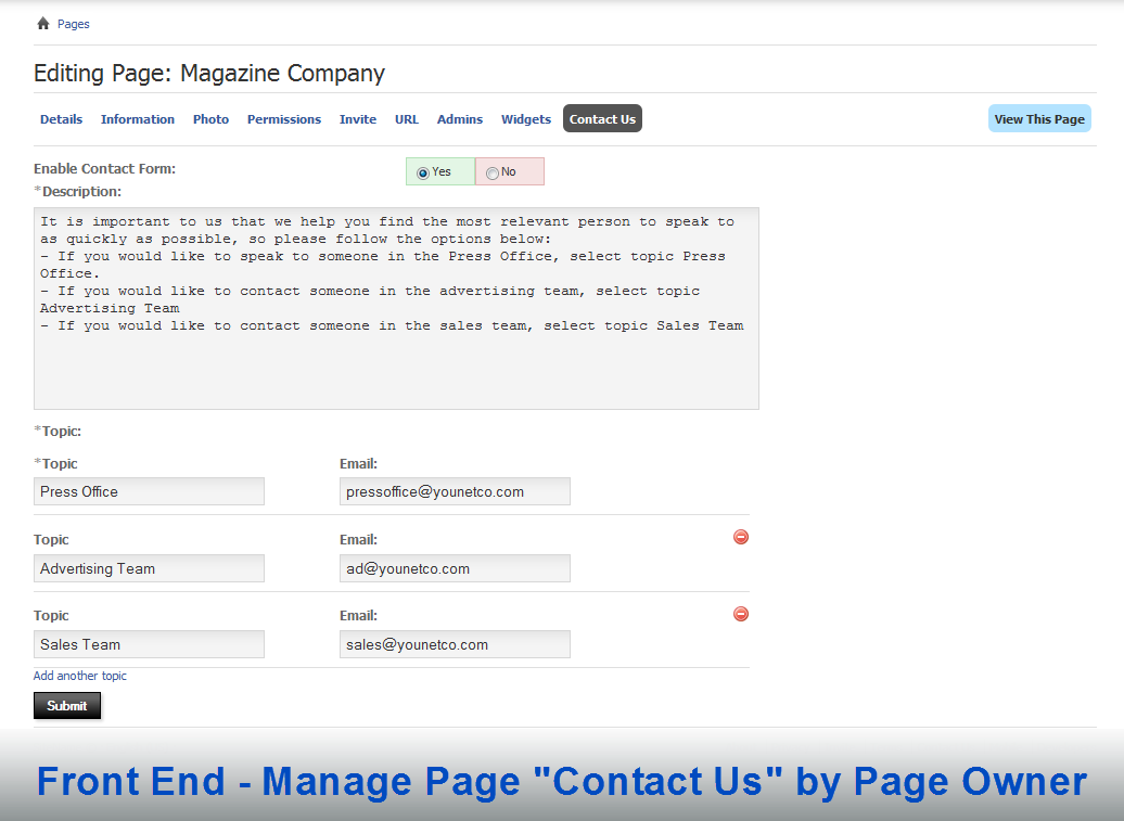 Page Contact Form, module, plugin custom design for phpFox