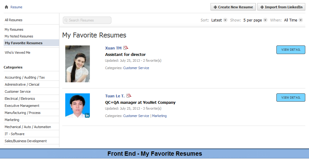 view resumes pay to view resumes settings wordpress job board theme jobengine job board front end pimp my