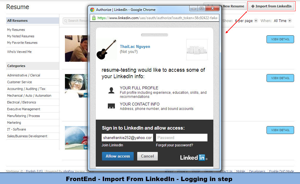 frontend import from linkedin logging in step younet
