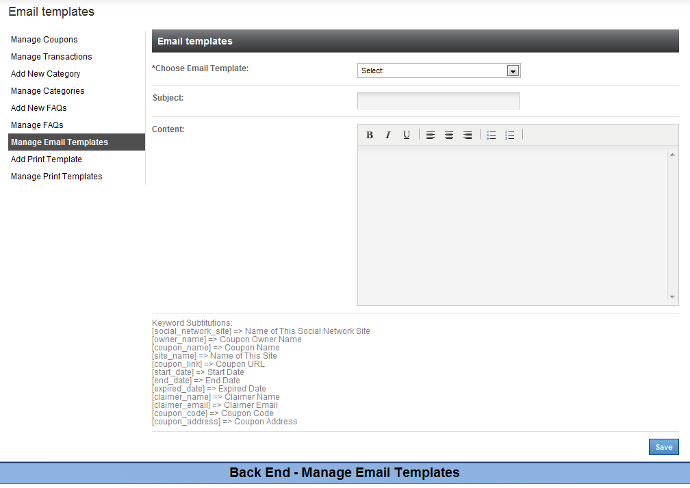 Back End Manage Email Templates1